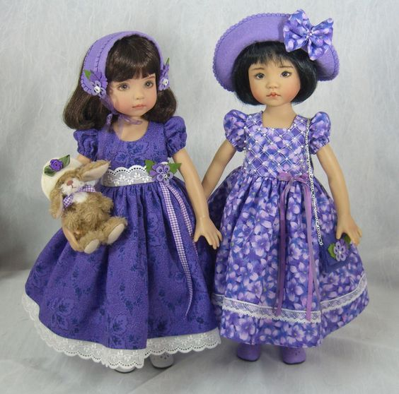 From idreamofjeannemarie on ebay, two Easter dresses for Little Darling dolls. Just beautiful, Jeanne! (Both of these dresses sold 4/3/14 for $89.00 each.)