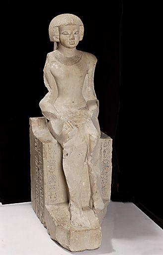 TDO 5 - Statue du prince Iâhmès - NE Fin XVIIe dyn (~1580-1570 av. J.-C.) - Thèbes ou Abydos - Calcaire peint et doré - H.103 L.56 Pr.57cm - Paris, mdL