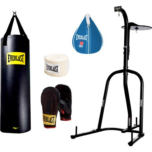Everlast Boxing Heavy Bag Set Dual Station Stand With 100