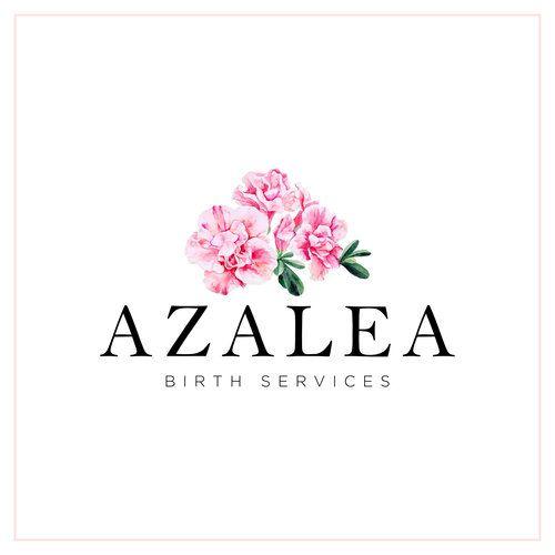 Azalea Birth Services Custom Logo Design Doula Logo Floral Logo Watercolor Floral Logo Birthing Logo Design Pi Typography Logo Doula Logo Flower Logo