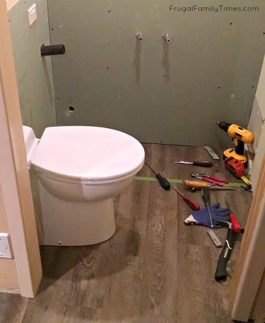 Diy How We Made A Bathroom In Our Basement Without Breaking Concrete Frugal Family Times Broken Concrete Basement Bathroom Bathroom