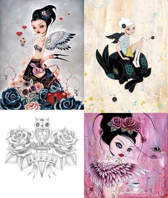 Clockwise from top left: Lost Souls; Bunny Dream; Coffee Angel; INKED logo.    Artist: Caia Koopman