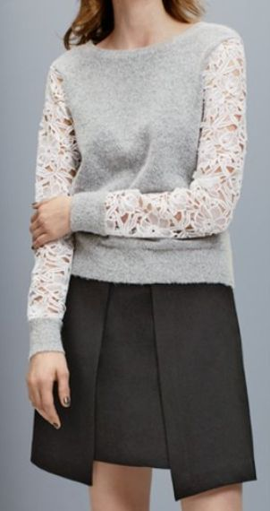 lace detail crewneck sweater