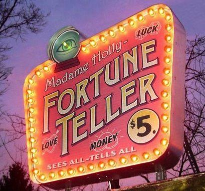 Vintage fortune teller sign