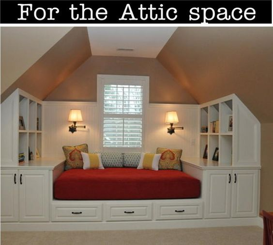 Love this idea for an attic dormer room...or upstairs in a Cape Cod.