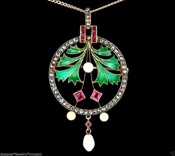 RARE ART NOUVEAU PLIQUE A JOUR FLORAL DIAMOND RUBY PEARL PENDANT NECKLACE SET