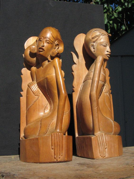 Art deco Pair of Vintage Hand Carved Wood Bookends Man n Woman Bali