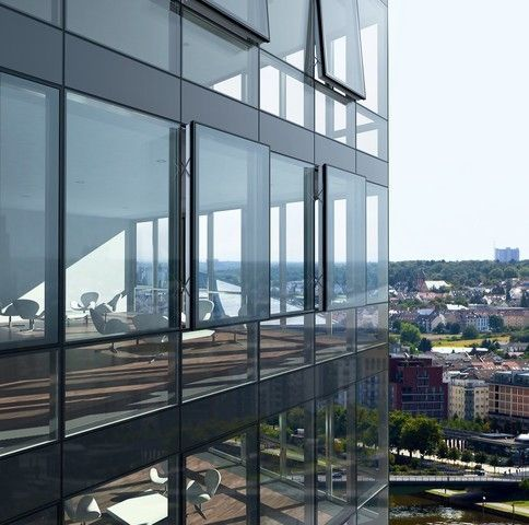 Structural curtain wall aluminium and glass fw 50 sg Opening glass walls
