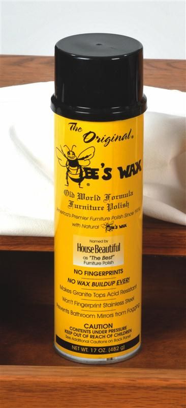 Bee's Wax polish brings a lustrous shine to all types of wood, without leaving an ugly residue.• Compared with other brands, less was used and the results lasted longer •The natural formula shines and protects everything from your car dashboard to your fine silver •Use it to achieve a beautiful luster on leather, wrought iron, marble, granite, glass and mirrors, even stainless steel •Won't fingerprint •17 oz aerosol can  www.lehmans.com
