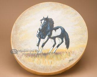 "Painted Tarahumara Drum 16"" -Painted Pony (pd57)"