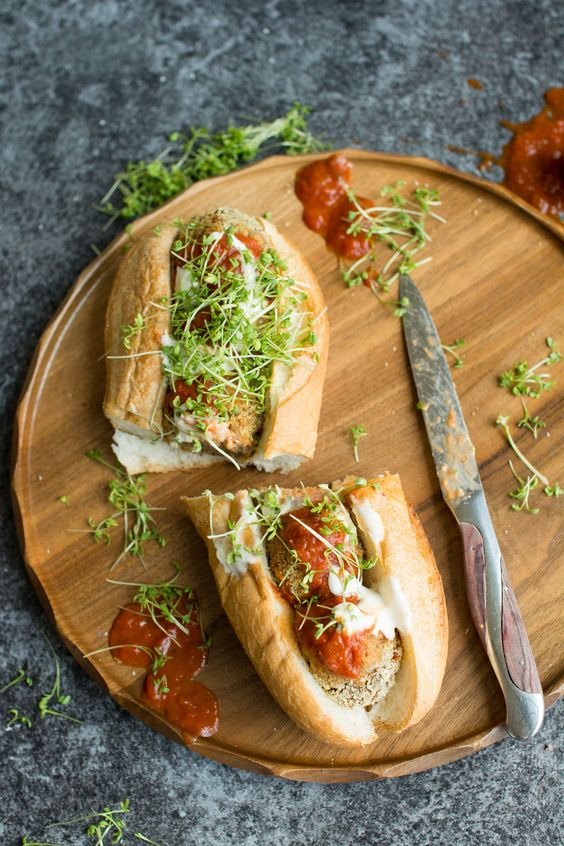 Vegan Meatball Sub. This delicious version uses mushrooms as a base for a hearty, satisfying sandwich that will curb all your cravings!: