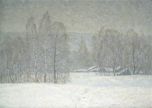 Winter Motif rural landscape - oil painting