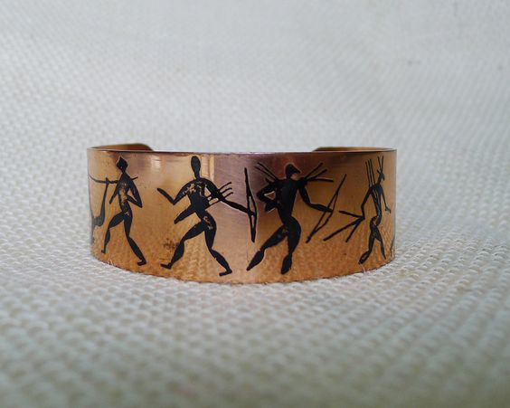 Vintage Petroglyph African Hunting Scene Bow and Arrows Warrior Cuff Bracelet, Unsigned Zulu Shiny Copper Cuff Bracelet Unisex Jewelry - pinned by pin4etsy.com