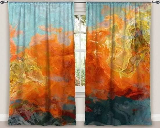 Curtain Panels Teal Orange Gold Red Grey Blackout Drapes