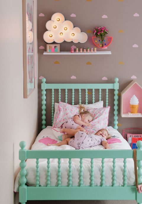Love the cloud theme for this little girl 39 s room kid for Little girl twin bed frame