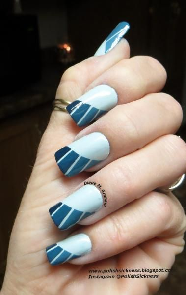 Nail Art, Blue Tips And French On Pinterest