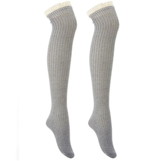 Charlotte Russe Ruffled Crochet-Trim Over-The-Knee Socks (6.68 CAD) ❤ liked on Polyvore featuring intimates, hosiery, socks, grey, knit socks, above the knee socks, grey socks, grey thigh high socks and thigh high socks