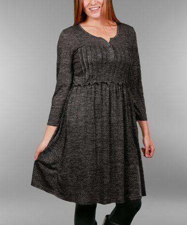 Look at this #zulilyfind! Deep Gray Rib Empire-Waist Dress - Plus #zulilyfinds