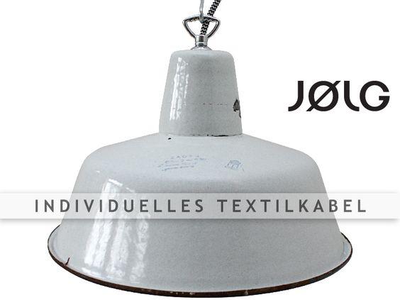 Weiße Emaille Industrielampe Shabby Chic bis 7 St von JOLG Industrielampen auf DaWanda.com