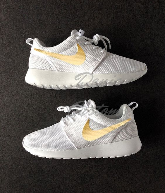 timberland 6in premium boot - Nike Roshe Run One White with Custom Gold Swoosh Paint | Nike ...