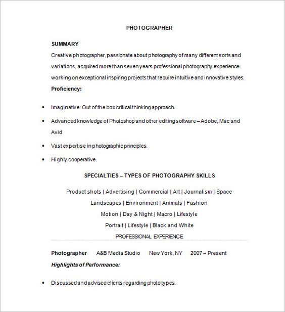 Photographer Resume Template u2013 17+ Free Samples, Examples, Format - photography resume sample