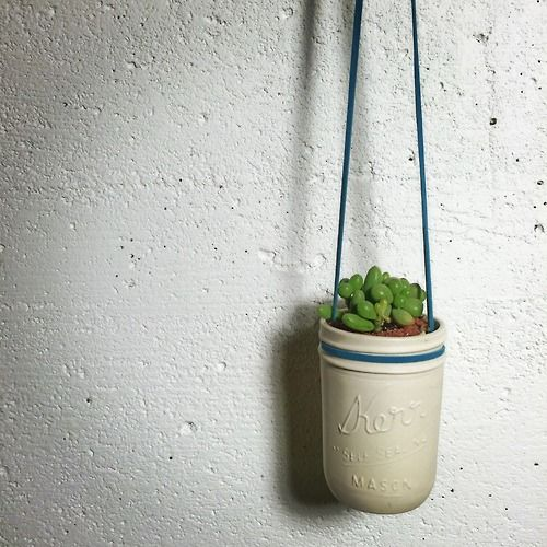 Handmade hanging ceramic mason jar plant holder or vase. Perfect for any room or office! Find more at www.relmstudios.com