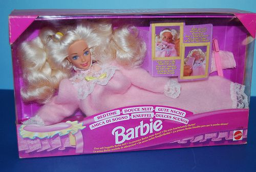 kindofacornflakegirl:    I had this too. Her eyes close with warm water and she has a soft body.  formyinnerchild:    Bed Time Barbie