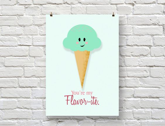 """You're my FLAVOR-ITE! 5x7 cute ice cream illustration print   ▶ DETAILS 5 x 7"""" print ready for framing (frame not included) • matte premium white cardstock paper (100 lb) • printed digitally with archival inks  Custom illustration and print by artist: Stephanie Chinn"""