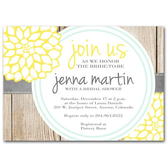 Yellow gray and milk bottle blue bridal shower invitation for Yellow bridal shower invitations
