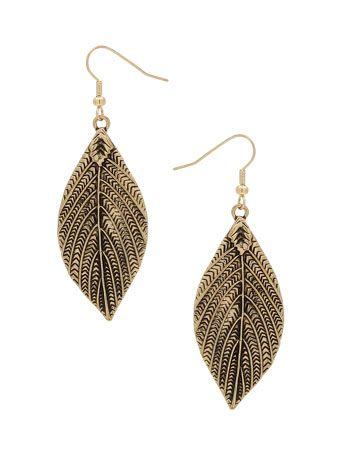 Gold Leaf Shaped Drop Earrings        Price: £5.00