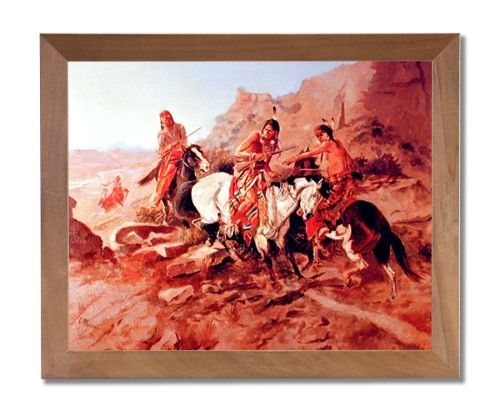 Russell American Indian On Horses Western Wall Picture Honey Framed Art Print, Brown