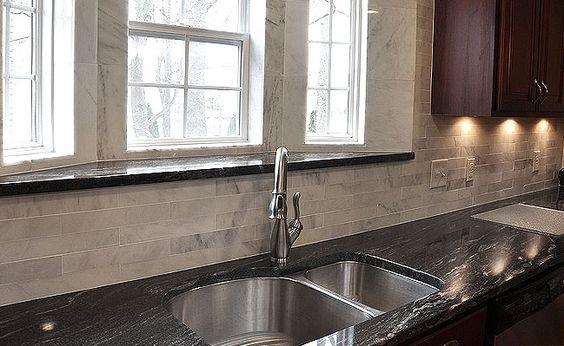 black granite and dark cabinets lighten up kitchen with white light backsplash home. Black Bedroom Furniture Sets. Home Design Ideas