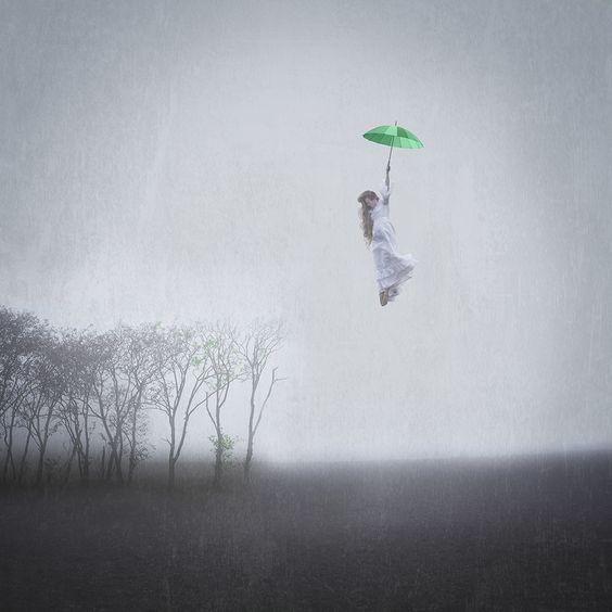 An #image #expressing the #antecipation for #spring to fall down and #spread all over the #land. #stubbornphotography #digital art #stubborn #danishwinter #fog #mist #seasonschange #selfportrait #photography #fineart #marypoppinsinspired #schoolassignment #nordic #denmark #skivevej #vintageweddingdress #green #umbrella #model