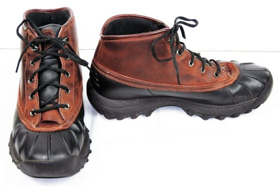 TIMBERLAND MEN'S MID CANARD DUCK BOOTS BROWN LEATHER & RUBBER WATERPROOF 10.5M #Timberland #DuckBoots