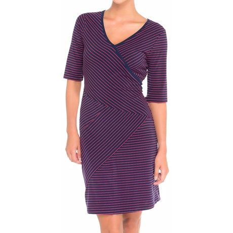 Lole Leena Organic Cotton Dress - UPF 50+, 3/4 Sleeve (For Women) in Blueberry 2 Tone