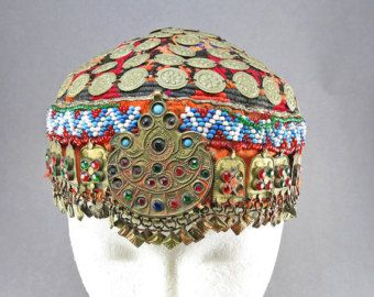 Vintage Hat Ethnic Textiles Home Decor Central Asian Arts Old Textiles Vintage Handmade Hat ith Glass