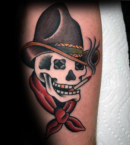 60 Cowboy Hat Tattoo Ideas For Men Western Designs In 2020 Cowboy Hat Tattoo Cowboy Tattoos Tattoos