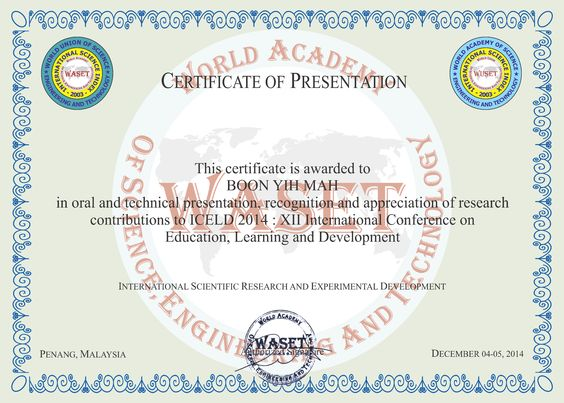 XI International Conference on Education, Learning and Development - design of certificate of participation