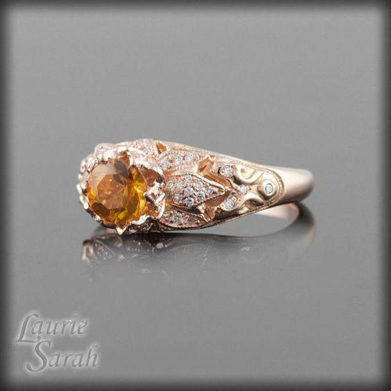 Lotus Flower Engagement Ring Rose Gold 22