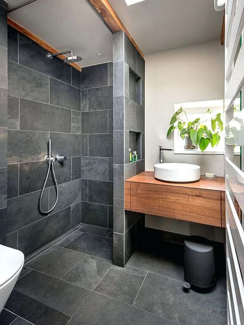 Slate Bathroom Floor Bathroom Small Contemporary 3 4 Gray Tile And Slate Tile Slate Floor And Bathroom Design Small Tiny House Bathroom Small Bathroom Remodel