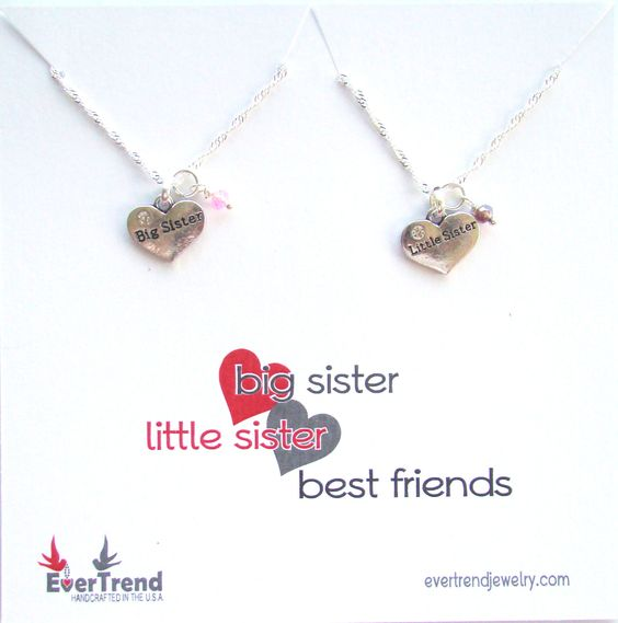 Big Sister Little Sister Boxed Pendant Necklaces with Birthstones