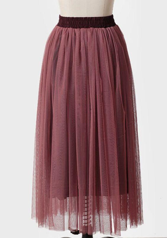 Broadway Dreams Midi Skirt with a mauve overlay on an aubergine skirt | Modern Vintage Bottoms