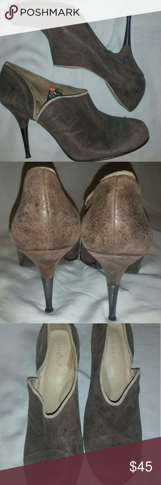DIESEL MELLANA DISTRESSED LEATHER Worn once,  great condition distressed leather half boot half pumps with brushed nickel heel , perfect color for fall,  discolouration on inside of shoe. DIESEL  Shoes Heels