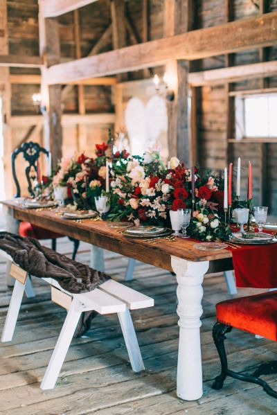 Gorgeous rustic wedding table: http://www.stylemepretty.com/2015/02/12/cozy-country-valentines-wedding-inspiration/   Photography: Emily Delamater - http://emilydelamater.com/