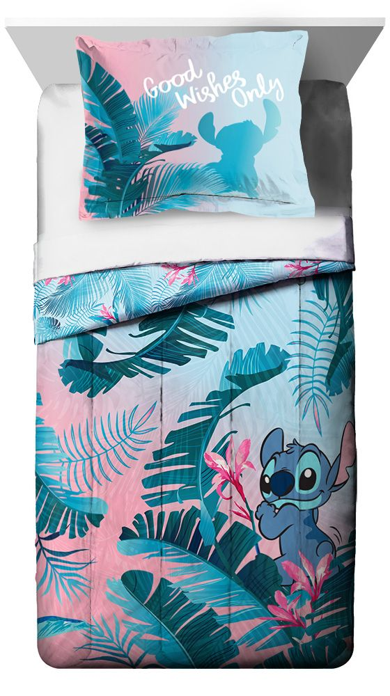 Lilo Stitch Pink Blue Floral Kids Reversible Comforter Sham Set Walmart Com Lilo And Stitch Disney Decor Bedroom Disney Room Decor