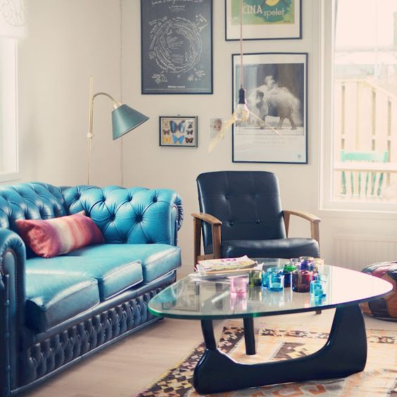 Love the royal blue chesterfield sofa very eclectic space Living Room lnspiration& How to