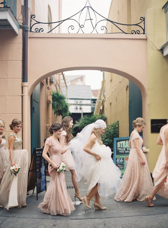 bridesmaids in pink for vintage wedding theme