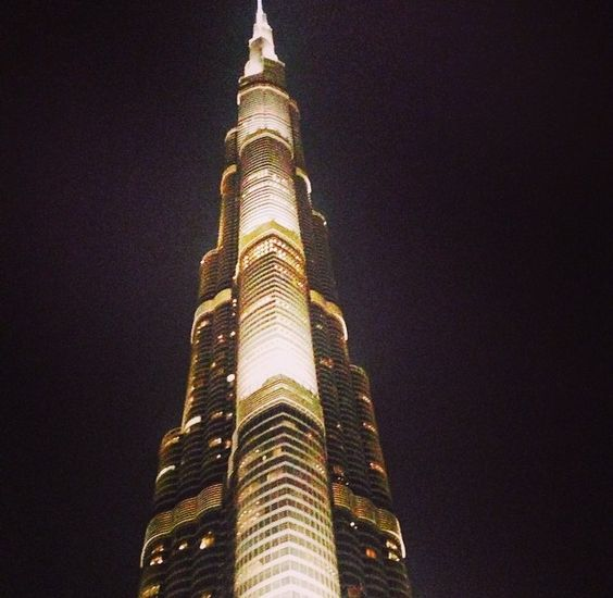 It was impossible for me to photograph the entire Burj Khalifa (world's largest tower) in Dubai it was so tall....this picture is only about a fraction of the size of it. #Wonder #Travel #Dubai