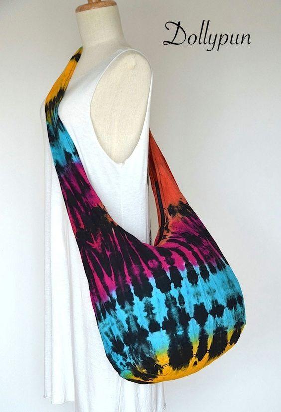 NEON / Tie Dye Hippie Hobo Boho Crossbody Bag / Sling by Dollypun, $9.99