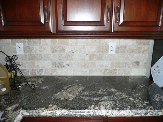 Natural Stone Subway Tile Backsplash Re Dark Counters Tumbled Stone Subway Tile Backsplash